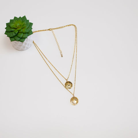 Double Layer Star & Moon Necklace - Goldtone