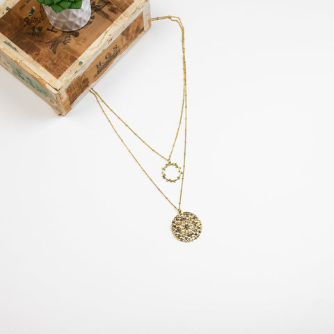 Two Layer Medallion Necklace -  Goldtone