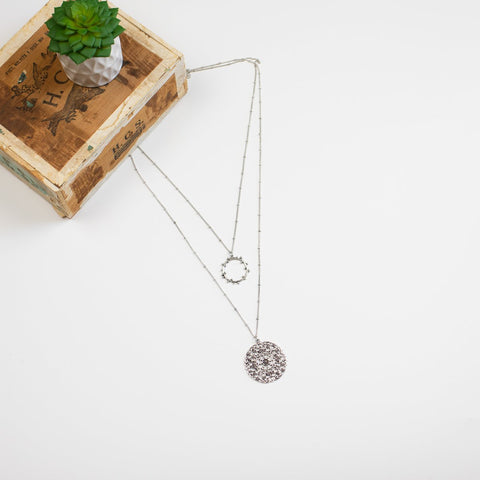 Two Layer Medallion Necklace -  Silvertone