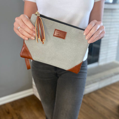 Mid Gray Corner Detail Wristlet - Gray Striped Lined