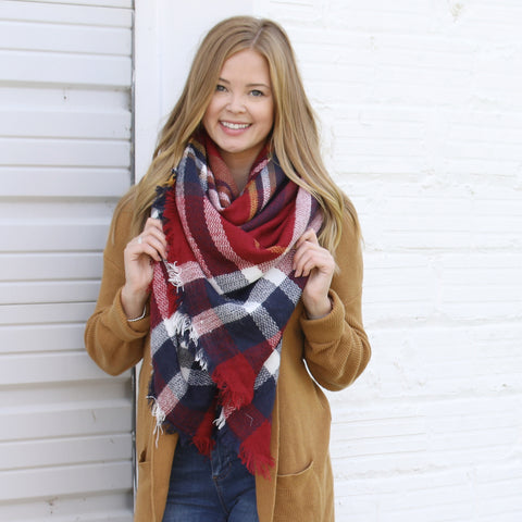 All American Plaid Blanket Scarf ~ Funky Monkey ~ Oversized Tartan Scarf