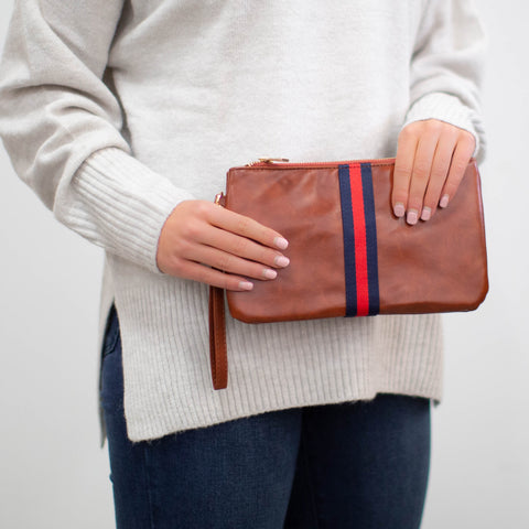 Preppy Stripe Zipper Clutch - Red/Navy Stripe