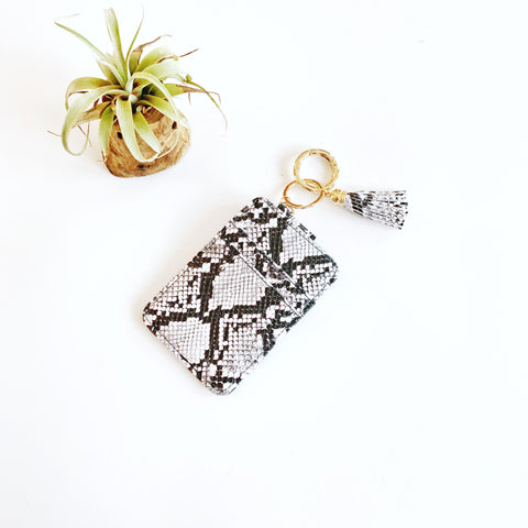 Key Ring Wallet - Black & White Snakeskin