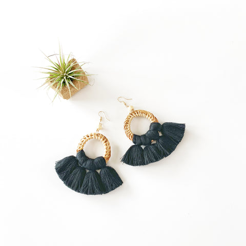 Summer Rattan and Fan Fringe Earrings - Black