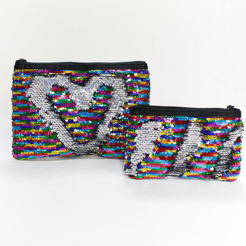 Rainbow & Silver Reversible Sequin Pouch Set