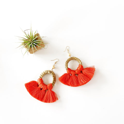 Summer Rattan and Fan Fringe Earrings - Coral