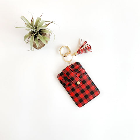 Key Ring Wallet - Red & Black Buffalo