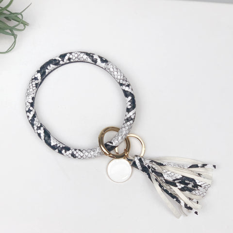 Key Ring Bracelet Collection - Black - White Snake Skin