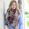 Red, Green, Beige Blanket Scarf ~ Funky Monkey ~ Oversized Tartan Scarf