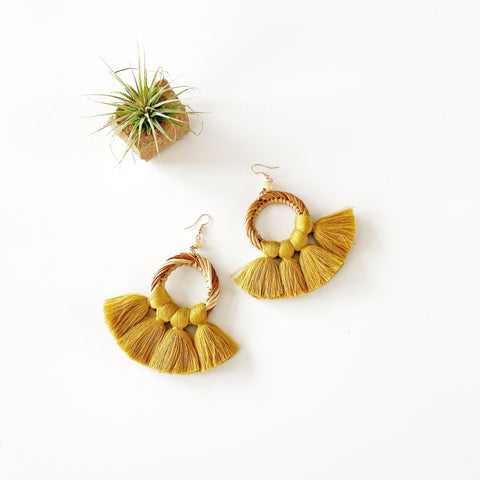 Summer Rattan and Fan Fringe Earrings - Mustard