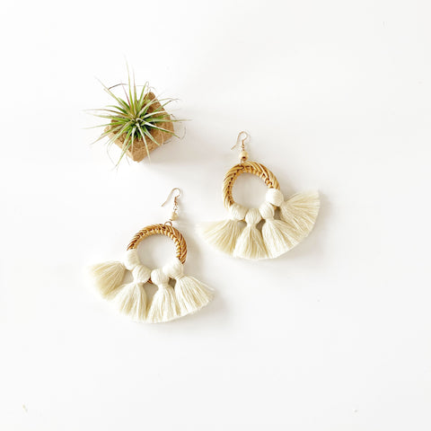Summer Rattan and Fan Fringe Earrings - Cream