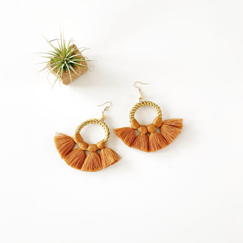 Summer Rattan and Fan Fringe Earrings - Copper