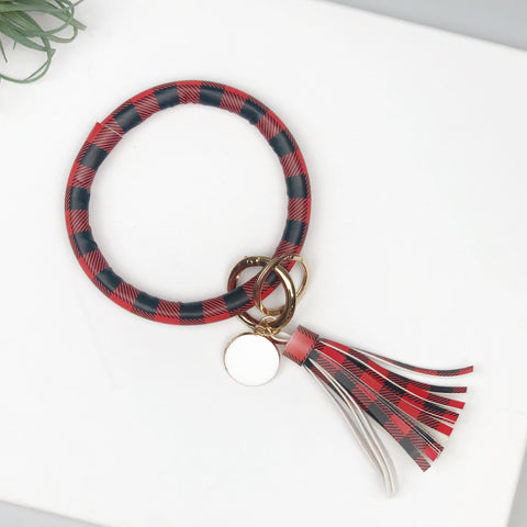 Key Ring Bracelet Collection - Red & Black Buffalo Check
