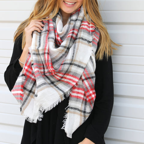 Red, White & Black Tartan  Blanket Scarf