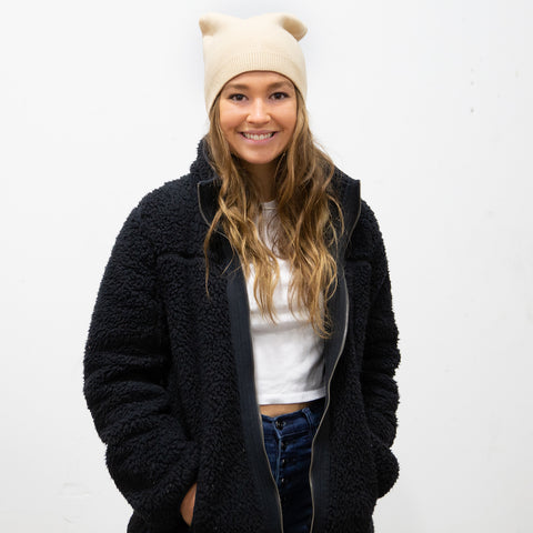 Cashmere Blend Beanie - Ivory