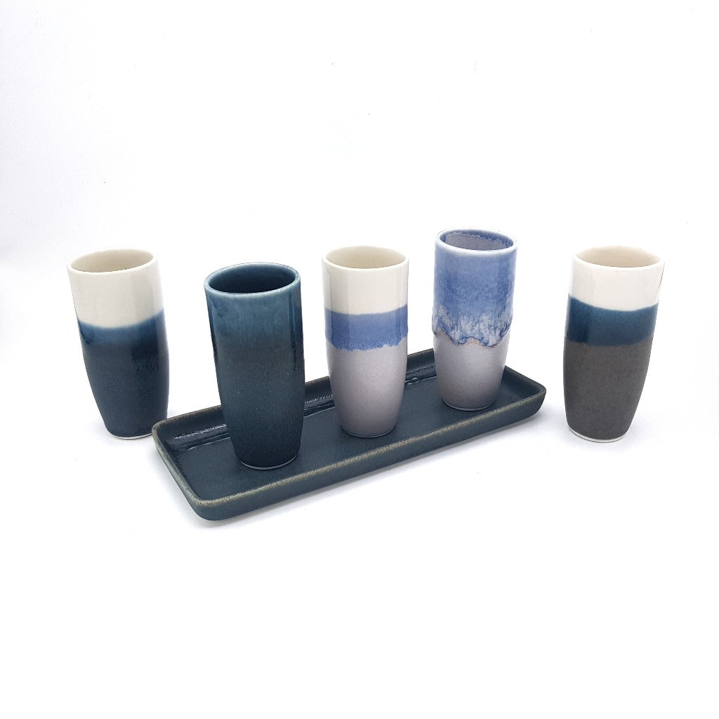 Kaolin - Iceramic - Pole shotglas. Shotglas, made of porcelain, comes in many colors of glaze which is inspired by the Icelandic nature.