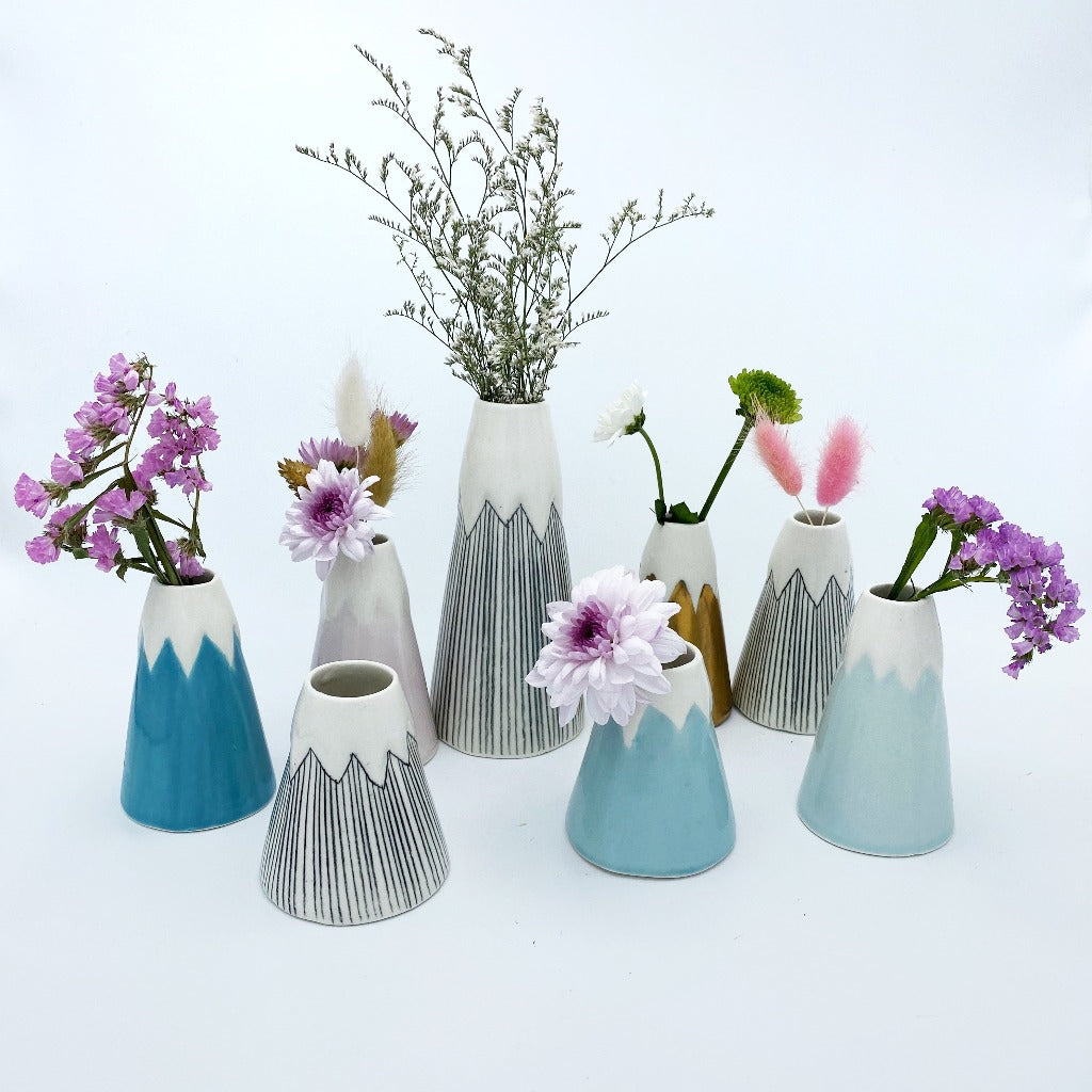 Group of different sizes of volcanoes vases with flowers.