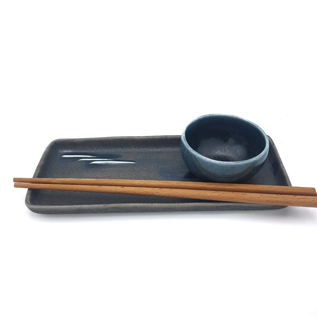 "Kaolin - iceramic - Black beach / sushi set. A set of a long plate and a small bowl in the color of blue/gray. Color in the glaze called ""Black beach"""