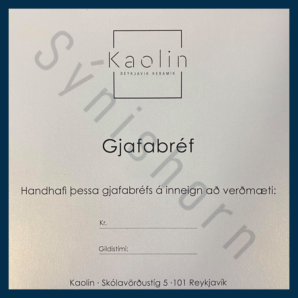Kaolin - Gjafabréf. Physical gift card.