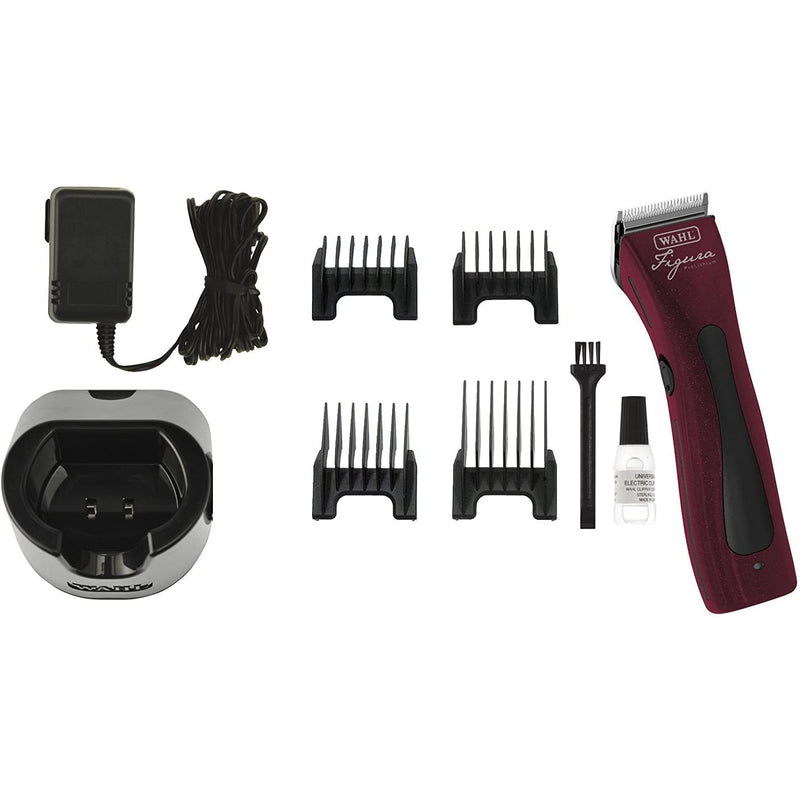 Wahl Professional Animal Figura Lithium Ion (Burgundy) Clipper Kit with a BONUS 4 oz.Clipper Oil
