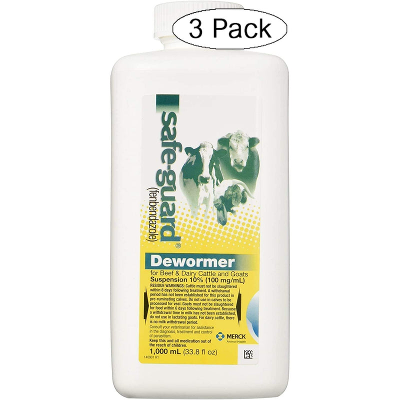 Safe-Guard Dewormer Suspension for Beef, Dairy Cattle and Goats, 1000ml (3)
