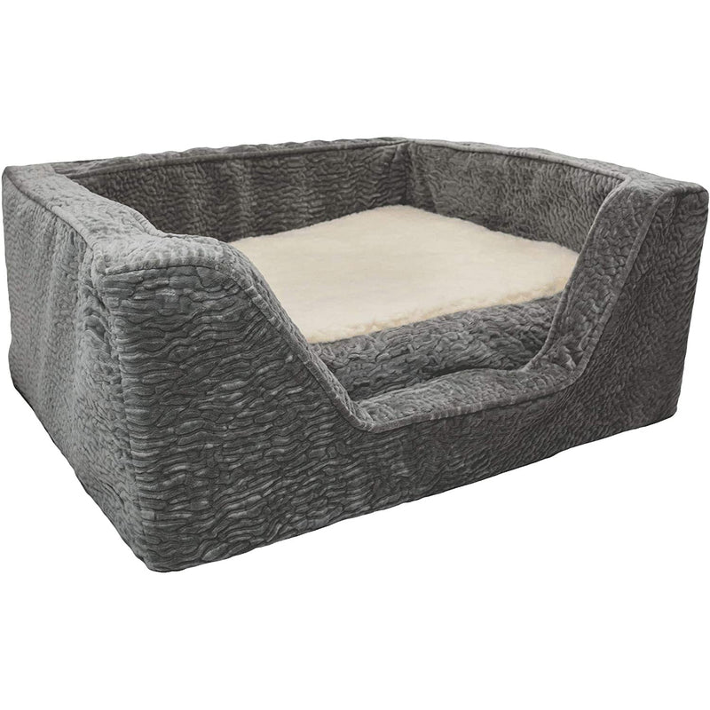 "Snoozer Premium Micro Suede Square Piston Storm with Memory Foam Dog Bed, 23"" L X 19"" W, Small, Gray"