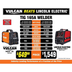 Vulcan ProTIG 165 Welder with 120/240 Volt Input (VW165-PT)