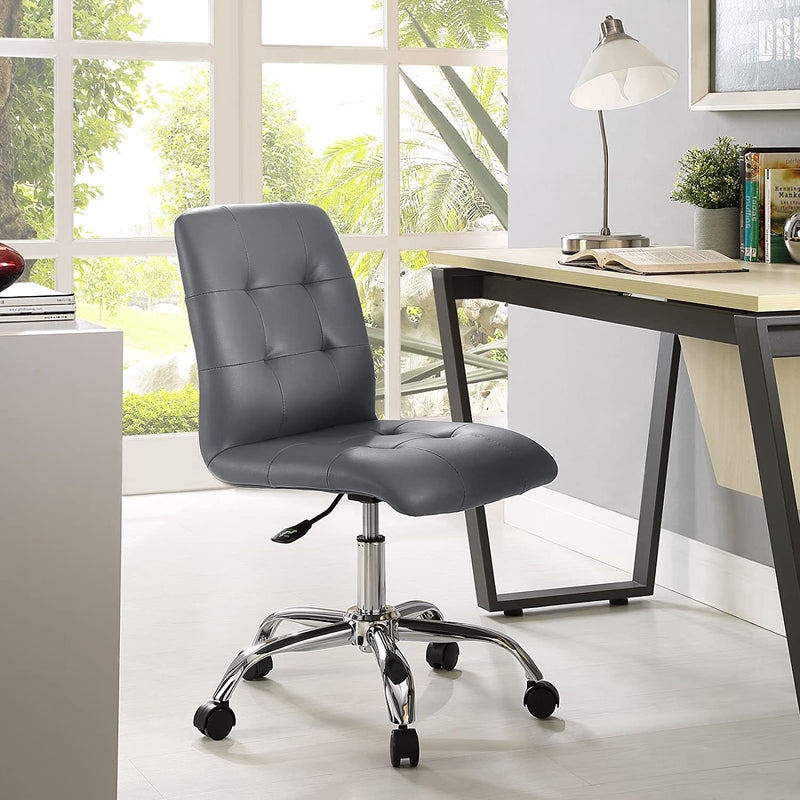 Modway Prim Armless Mid Back Task Adjustable Computer Desk