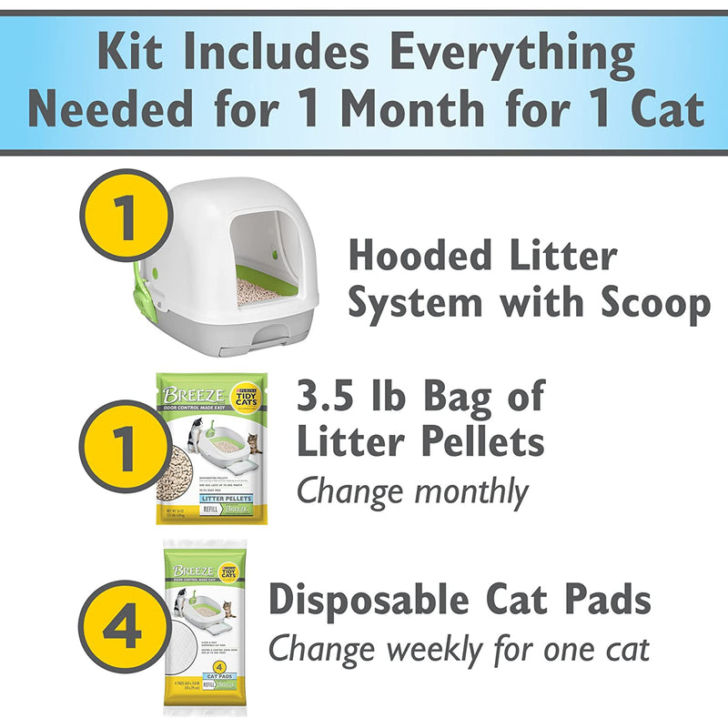 Purina Tidy Cats Breeze Hooded System Starter Kit Cat Litter Box, Litter Pellets & Pads