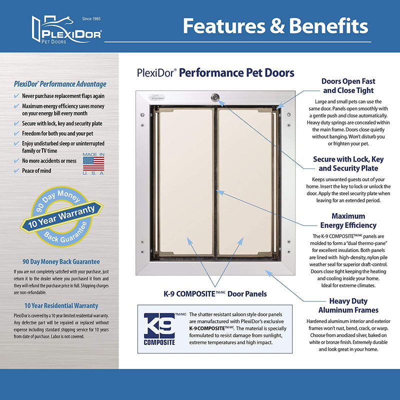 PlexiDor Performance Pet Doors for Dogs and Cats - Wall Mount Dog Door with Lock and Key - Bronze, Multiple Sizes