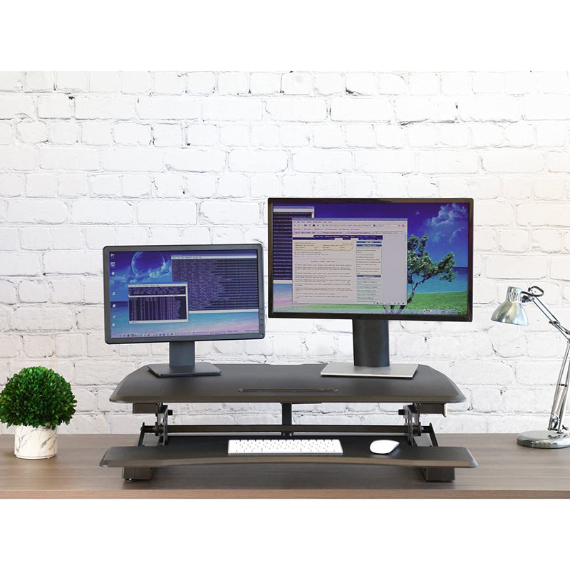 Seville Classics Airlift Height Adjustable Compact Standing Desk Converter Workstation