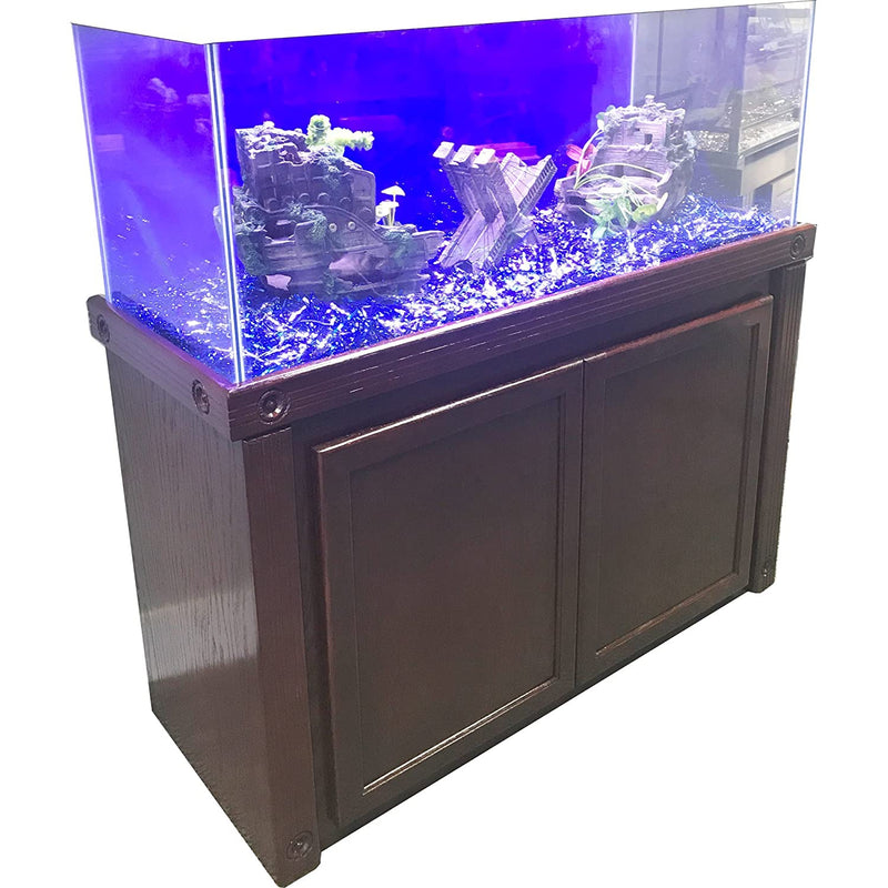 "R&J Enterprises 48X18 Cherry Oak Empire Cabinet for 75/90/110 Gallon Glass Aquariums, 48.75"" L X 18.5"" X 32"" H, Brown"