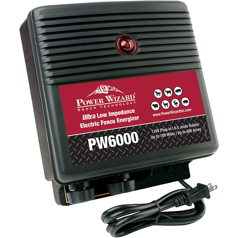 Power Wizard PW6000 ULTRA Low Impedance 100 Mile Electric Fence Energizer