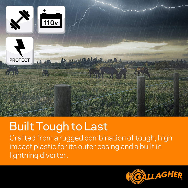 Gallagher M160 Electric Fence Charger | Powers Up to 30 Miles / 100 Acres of Clean Fence | 1.6 Joules, 110 Volt Energizer | Unbeatable Reliability | Tough Outer Casing Mounting