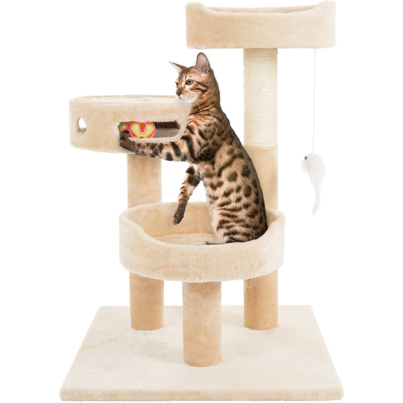 "PETMAKER Cat Tree 3 Tier 2 Hanging Toys A 3 Ball Play Area and Scratching Post, 27.5"", Tan"