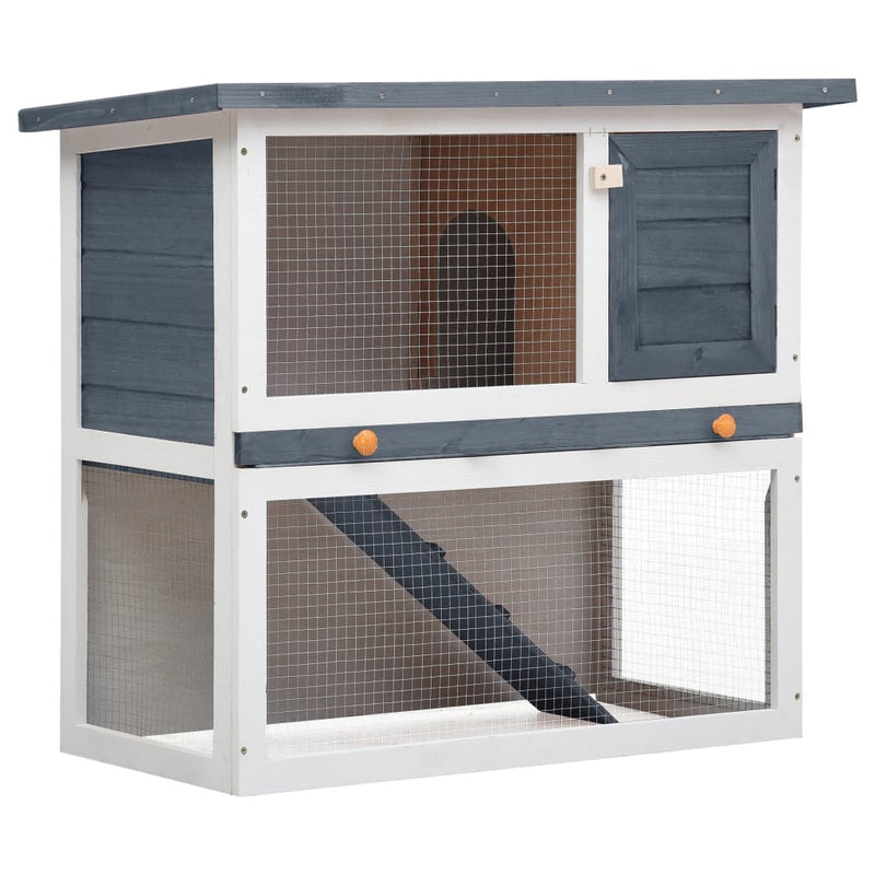 Outdoor Rabbit Hutch 1 Door Gray Wood