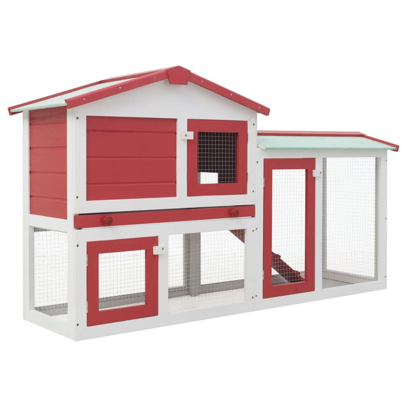 Outdoor Large Rabbit Hutch Red and White 57.1''x17.7''x33.5'' Wood