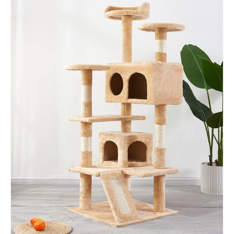 Free shipping Cat Tree Apartment with Sisal Grab Bar, Grab Board, Plush and Double Room,Cat Tower Furniture,Kitten Activity Center,Kitten Play House