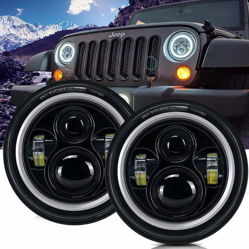 DOT Approved 7'' Round Black LED Headlight with High Low Beam White DRL Amber Turn Signal for Jeep Wrangler JK TJ LJ CJ Hummer H1 H2 (Pair)