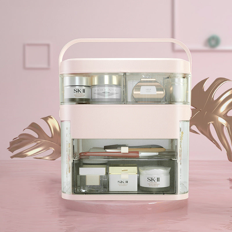 LED mirror cosmetic portable storage box