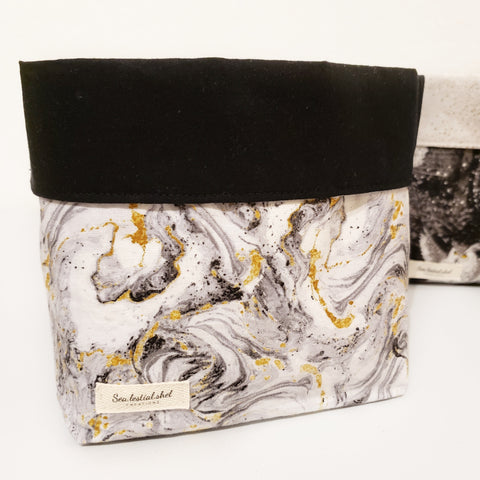 Black Marble Storage Bins