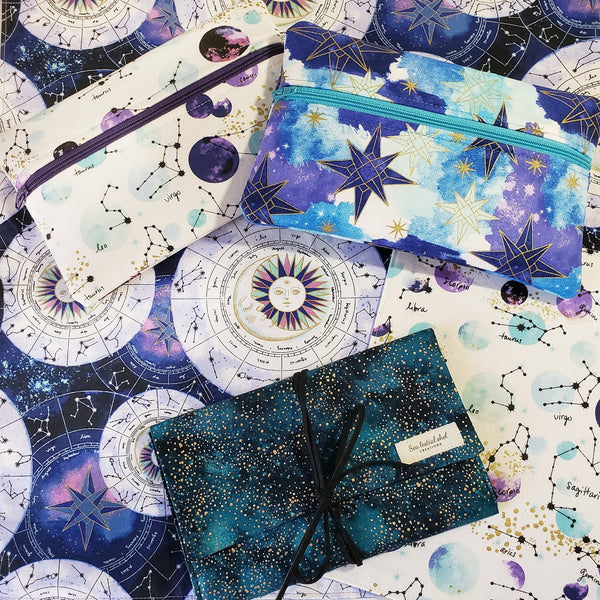 Purple Celestial Zodiac Zipper Pouch
