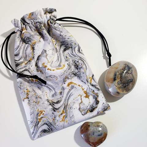Black Marble Drawstring Bag