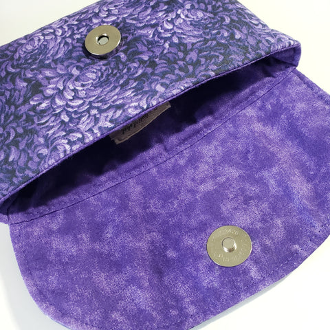 Purple Floral Snap Bag
