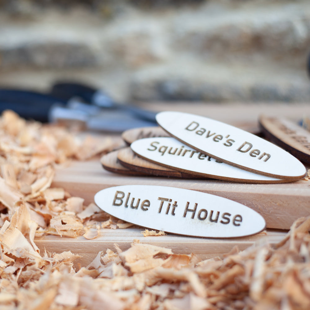Blue Tit House Wooden Name Plaque