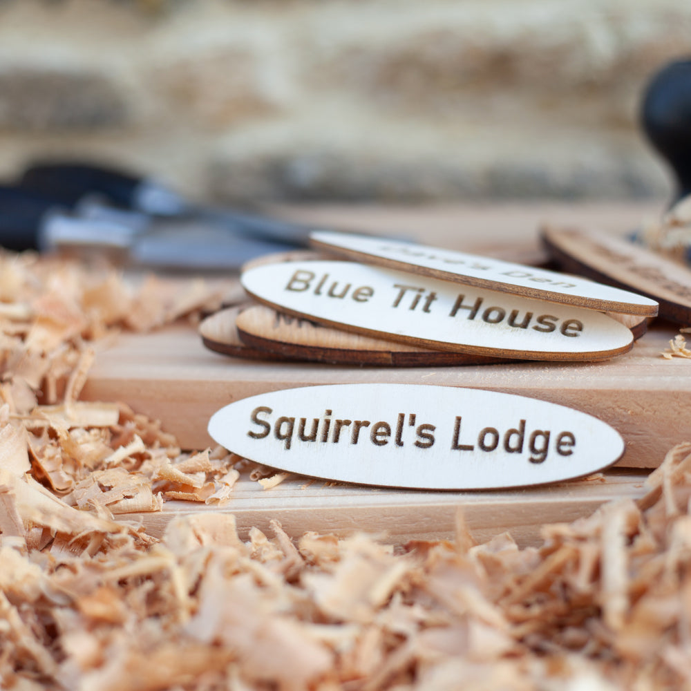 Squirrel's Lodge Wooden Name Plaque
