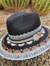 Lacey Days Black + White, Crystal adorned hat