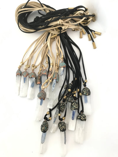 Kyanite Necklace on leather