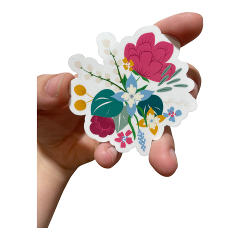 Pansy and Rose Flower Arrangement Waterproof Sticker