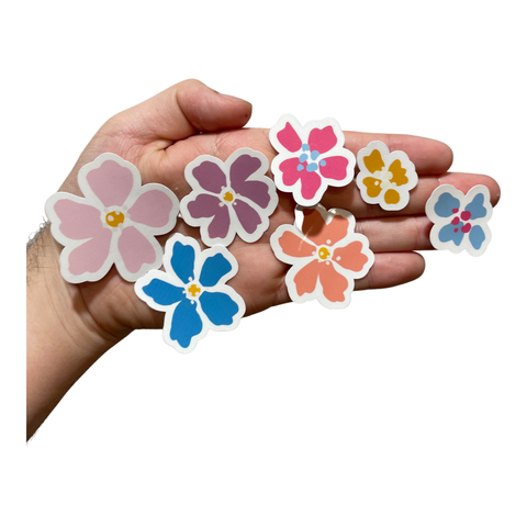 Pink, Purple, and Blue Flowers Waterproof Stickers Set